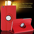 Para o caso samsung galaxy tab 3 8.0 t311, t310, t315 fique tablet pu caso capa de couro 360 rotating inteligente + filme
