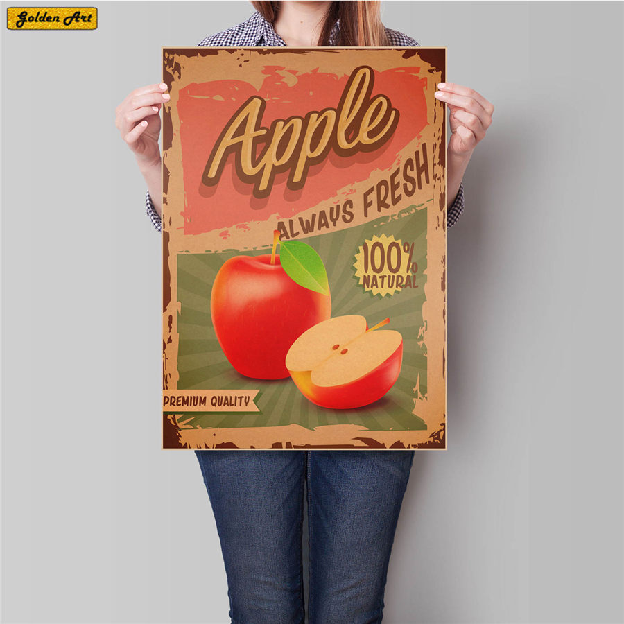 Fruit Food Drawing Vintage kraft paper poster bar cafe wall sticker Art Painting retro art paint prints picture 45.5x31.5cm