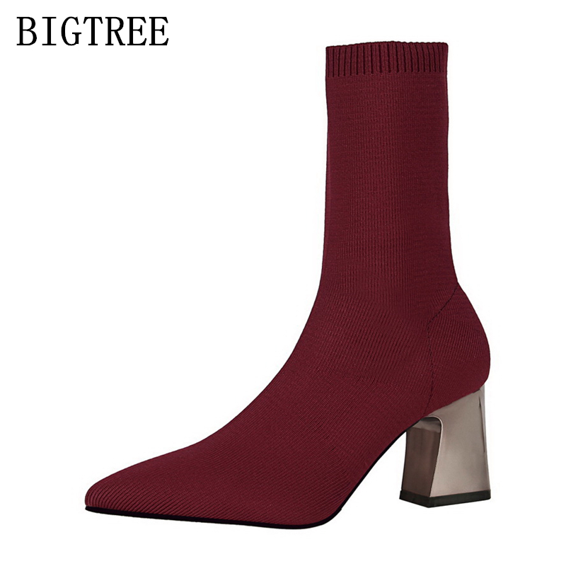 ladies boots pointed toe high heel boots bigtree shoes woman black red Chelsea Boots women shoes zapatos mujer bottine femme 2017 ohwhat s ladies shoes woman solid pointed toe leather winter womens booties zapatos mujer botas high heel boots