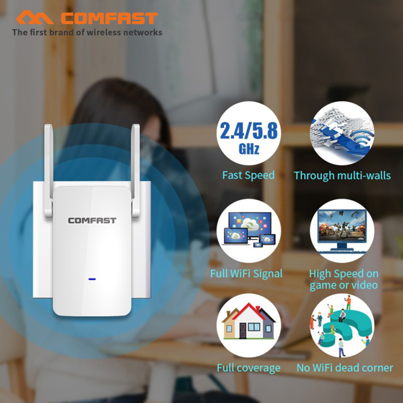 1200Mbps 5.8Ghz dual antenna Wireless WiFi Repeater WiFi Signal Amplifier Wireless Router Wi Fi Range Extender Expand Booster AP цена