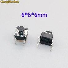 цена на ChengHaoRan 50pcs/lot 6x6x6MM 4PIN Tactile Tact Push Button Micro Switch Direct Plug-in Self-reset DIP Top Copper