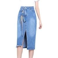 Jean Rok Vrouwen Blauw Gedragen Kant-up S-XL Vrouwelijke Boog Hoge taille Mid Lange Denim Rok Koreaanse Mode Kokerrok Zomer 2018