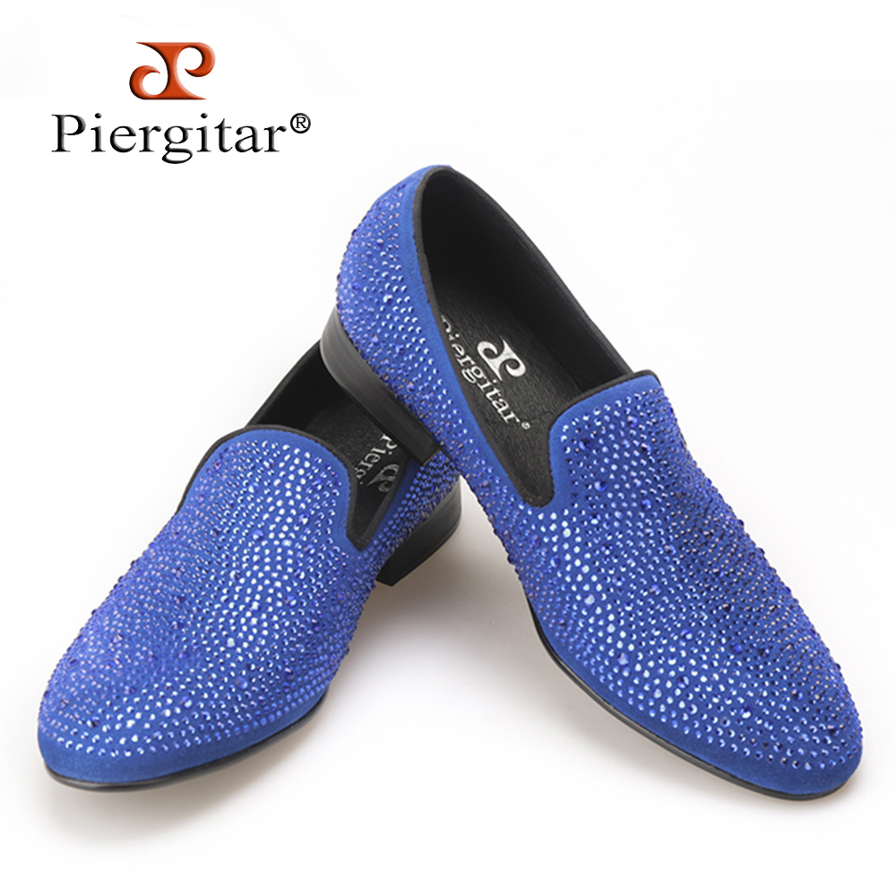 Piergitar New Handmade men suede shoes with full rhinestone men wedding and party loafers Banquset men dress shoes men's flat цена 2016