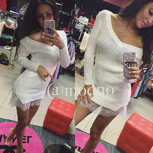 Knitting bodycon vestidos knitted sweater pencil dresses slim party dress short