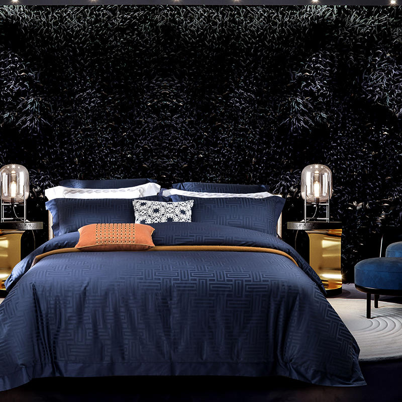 Luxury Egyptian Cotton Jacquard Bedding set Queen King size Bed set Gray Blue Duvet cover Cotton