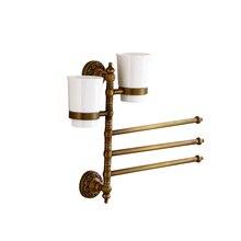цены MADICA 31.3*26cm 3 Towel Bars+2 Pcs Caps Holder For Shower Room Towel Rail Vintage Brass Metal Nail Towel Bars + Caps Holder