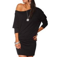 Delicate Hot! vestidos summer dress sexy slim Womens Long Sleeve Off Shoulder Mini Batwing Tunic Dress nor060722