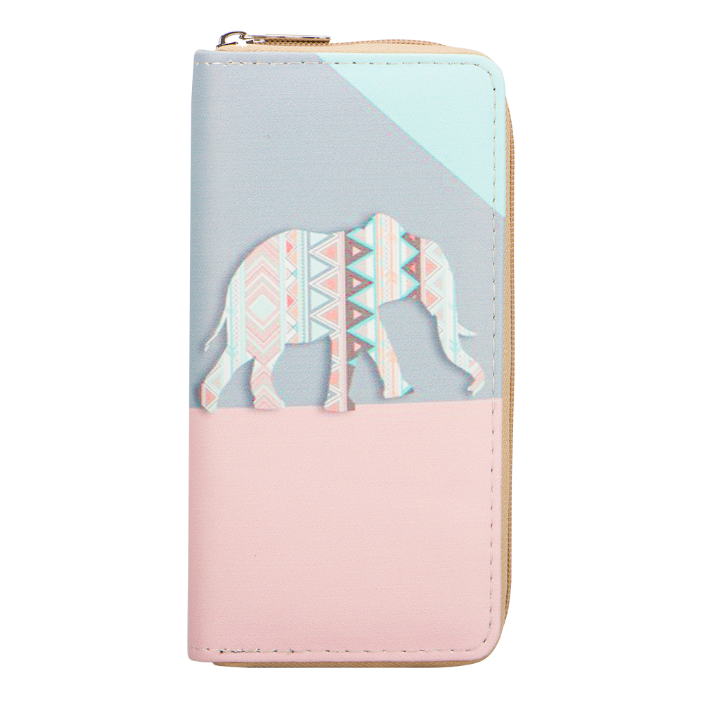 Sansarya New 2018 Vintage Boho Hippie Aztec Tribal Elephant Print Woman Wallet With Zipper Card Holder Phone Bag Money Bag