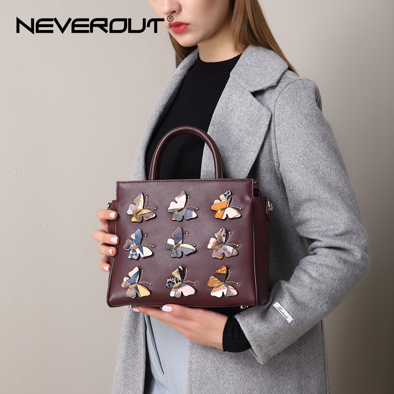 NeverOut 2018 New Handbag High Quality Split Leather Casual Tote Dark Red Vintage Animal Prints Shoulder Women Tote Handbags Sac new high quality vintage casual 100