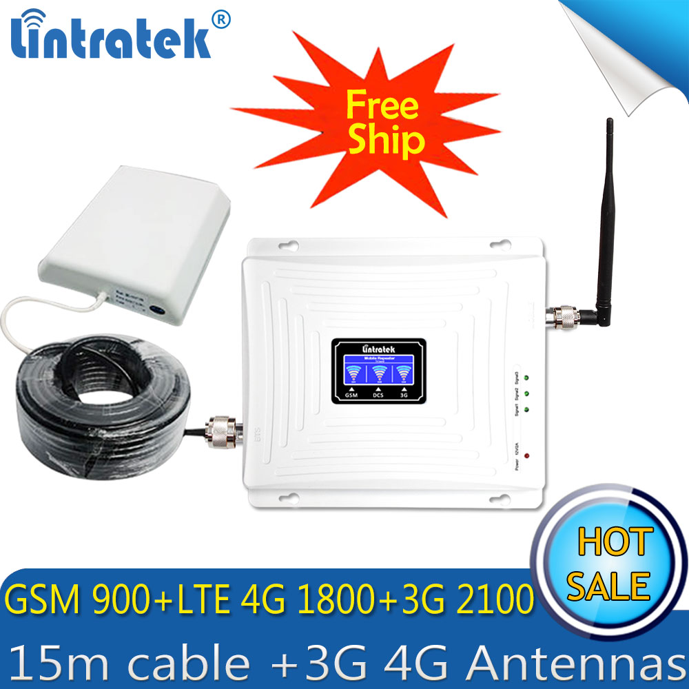 Lintratek GSM 900 1800 WCDMA 2100 Tri-Band Booster 2G 3G 4G LTE 1800 70dB Mobile Cellular Signal Repeater 4G AmplifierLintratek GSM 900 1800 WCDMA 2100 Tri-Band Booster 2G 3G 4G LTE 1800 70dB Mobile Cellular Signal Repeater 4G Amplifier