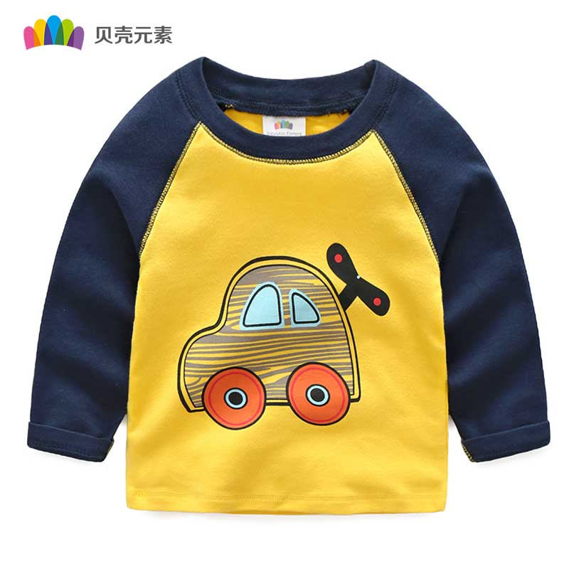2017 Hot Sale Long Sleeve Children Boys Clothing Lovely Printing Kids Boys T-Shirt Toddler Sweatshirt T Shirt Spring Costume