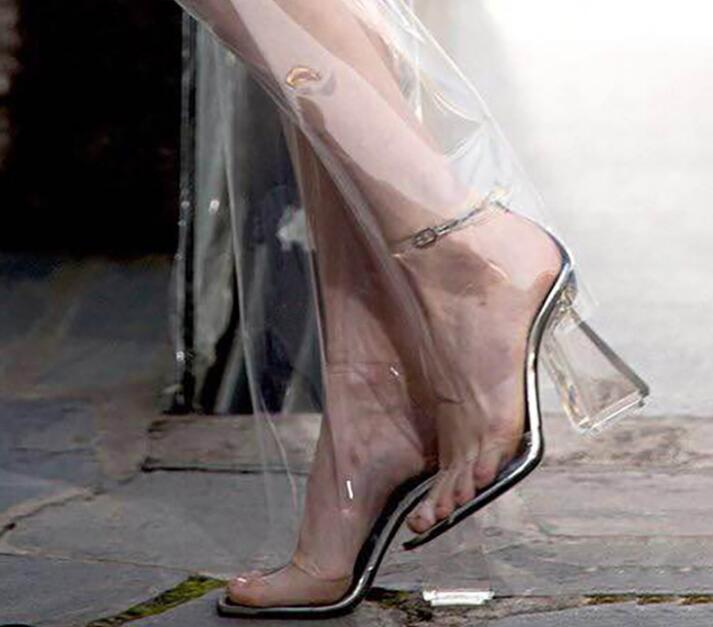 Фотография Free Shipping Brand Choudory 2017 Summer New Transparent PVC Peep Toe Special Heel Square Heel Party Dress Sandals Black Nude