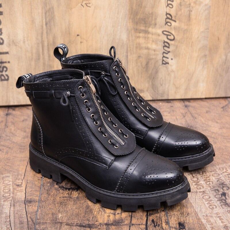 Confortable Épaisse Mâle Bottes slip Noir Hommes Mens Black Non Chaussures Jeunes Portable Zipper Semelle Nouveau Bout Pointu Casual Ixf0wqYAI