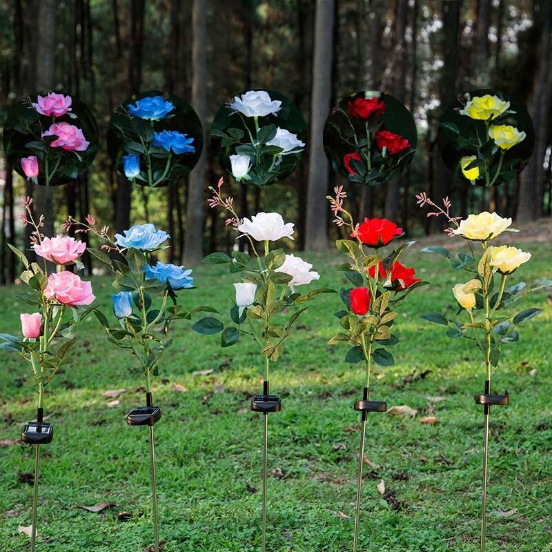 Solar Power Rose Flower Garden Stake Landscape Lamp Outdoor Yard 3 LEDs Lights -- WWO66
