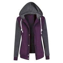Women Hoody Pocket Jackets Coats 2018 Autumn Casual Stitching Long Sleeve Hooded