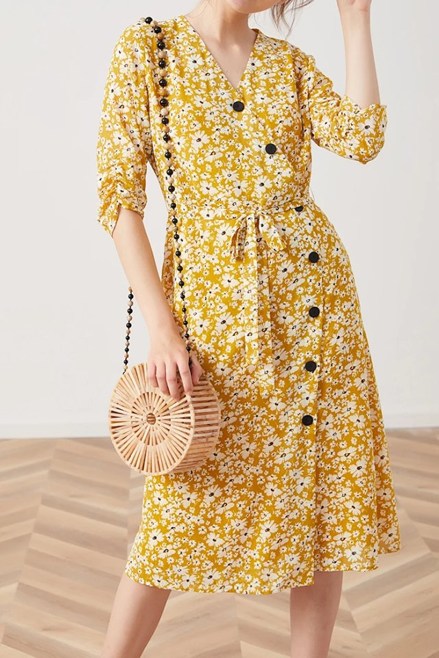 Yellow Wrap V Neck Flower Floral Print Short Sleeve Button Front Mide Dress With Waist Ties