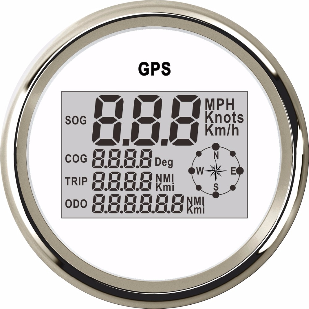 85mm Digital Speedometer Gauge Boat 0~999 Knots MPH Km/h Adjustable GPS Speed Gauge fit Boat Motorcycle Car With Red Backlight 100% brand new gps speedometer 60knots for auto boat with gps antenna white color