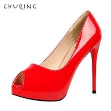 CHUQING Fashion Simple Ultra High Heel Waterproof Platform Patent Leather Sexy Slim Heels