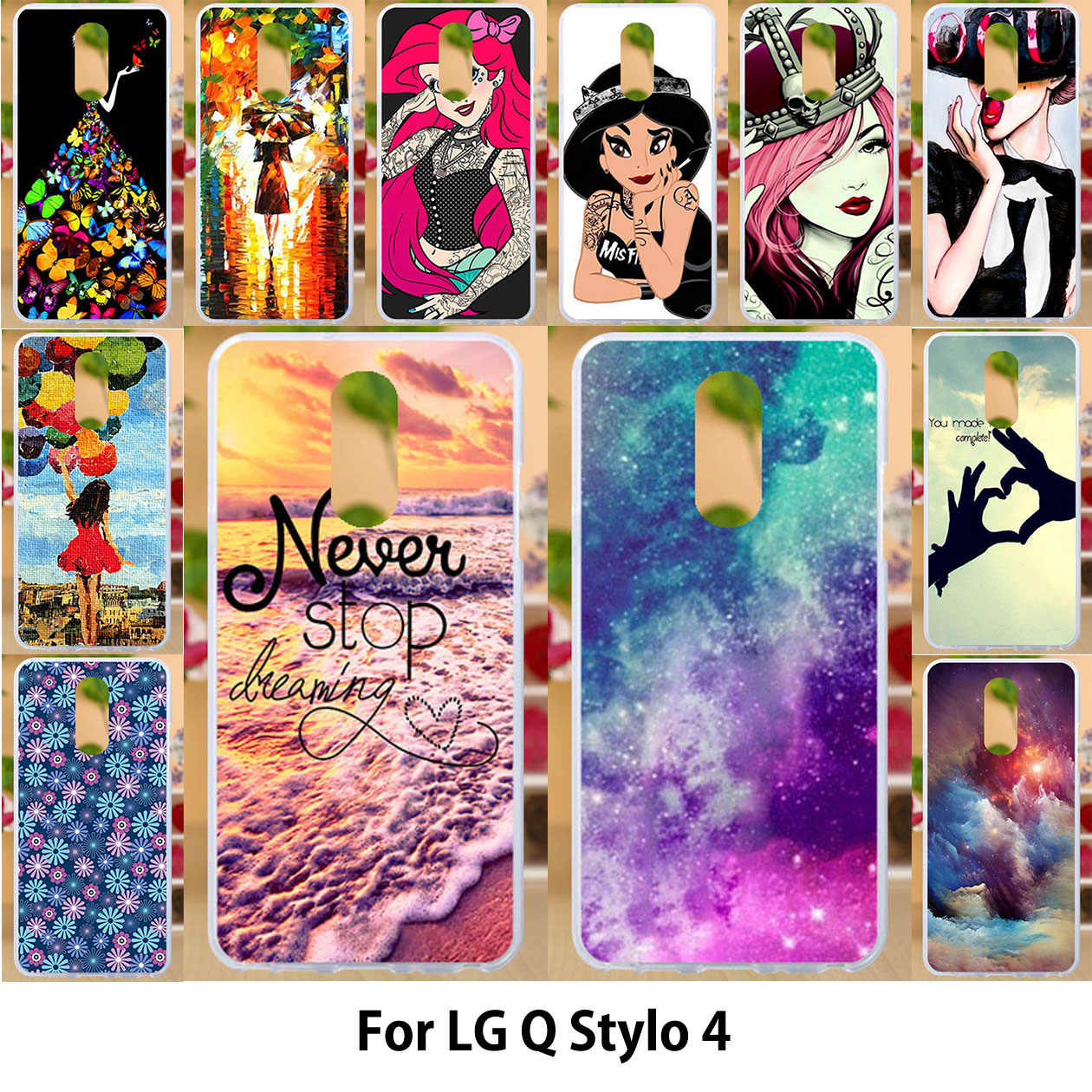 Anunob Case For LG Q Stylo 4 Cases LG Q Stylo 4 Q710MS 6.2 inch for Metro PCS TPU Soft Silicone Cover Painting Star Protector