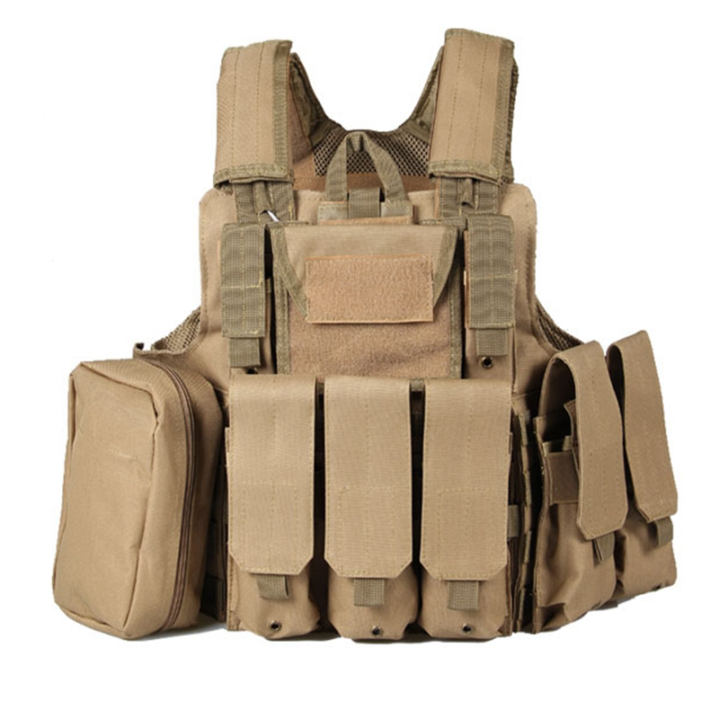 Molle CIRAS Tactical Vest Airsoft Paintball Combat Vest W Magazine Pouch+Utility Bag Releasable Armor Carrier Vest military molle admin front vest ammo storage pouch magazine utility belt waist bag for hunting shooting paintball cf game