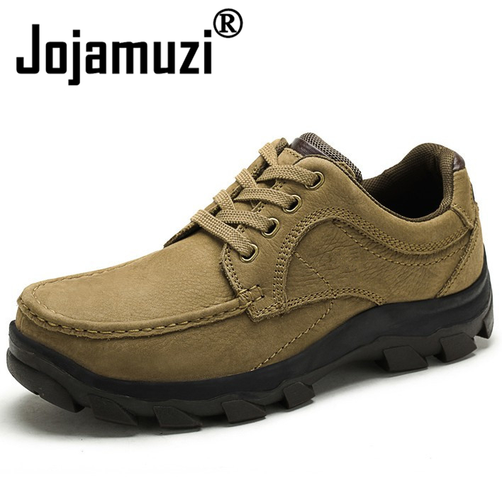 2018 Autumn Winter Men Shoe Top Quality Genuine Leather Lace Up Rubber Outsole Fashion Outdoor Flat Shoes Casual Low Boots front lace up casual ankle boots autumn vintage brown new booties flat genuine leather suede shoes round toe fall female fashion