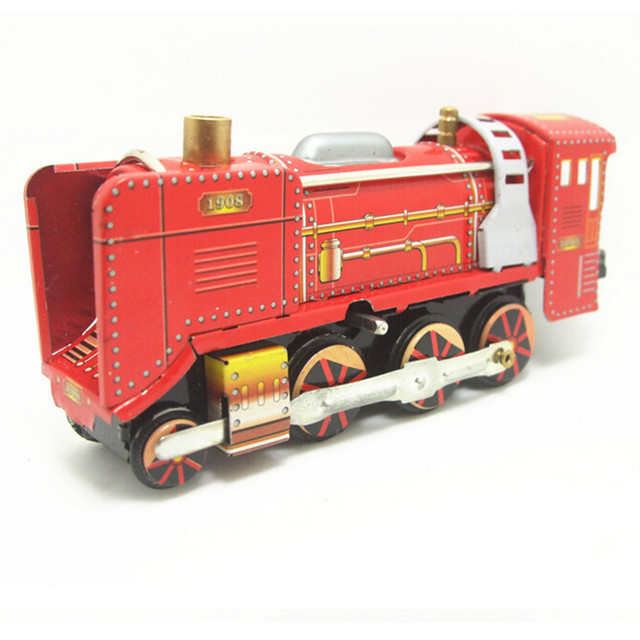 New Design Vintage Train Model Tin Wind Up Toys for Friend's Birthday Gift, Red Color Clockwork Toys