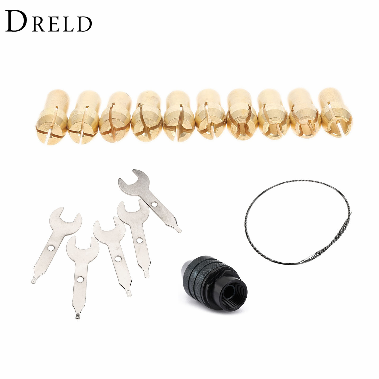0.5-3.2mm Brass Collets Tools+ Multi Keyless Drill Chuck +Flexible Shaft +Grinder Spanner Dremel Rotary Accessories Grinder Tool flexible extension cord shaft rotary grinder tool m8 keyless chuck aluminum flex shaft for grinding tools