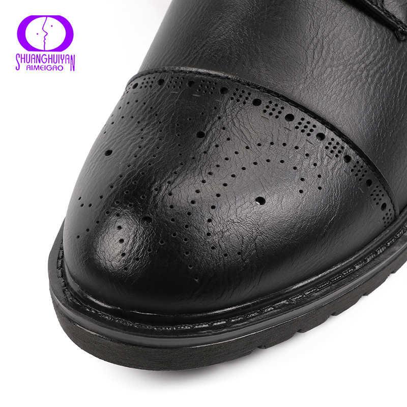 AIMEIGAO Moda Vintage Kadınlar yarım çizmeler Yumuşak Deri düz ayakkabı Rahat Bayan Botları Lace Up Yumuşak Deri Klasik Ayakkabı