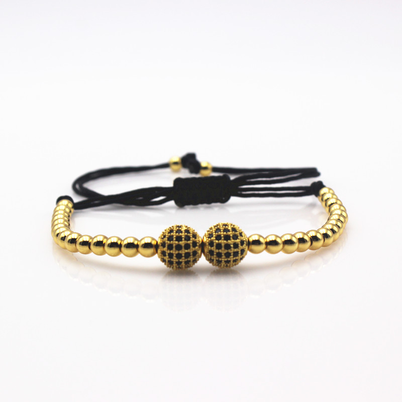 Anil Arjandas Brand Men Bracelets,24K Gold 4mm Round Beads & 2PCS 8mm Micro Pave Black CZ Beads Braiding Macrame Bracelet