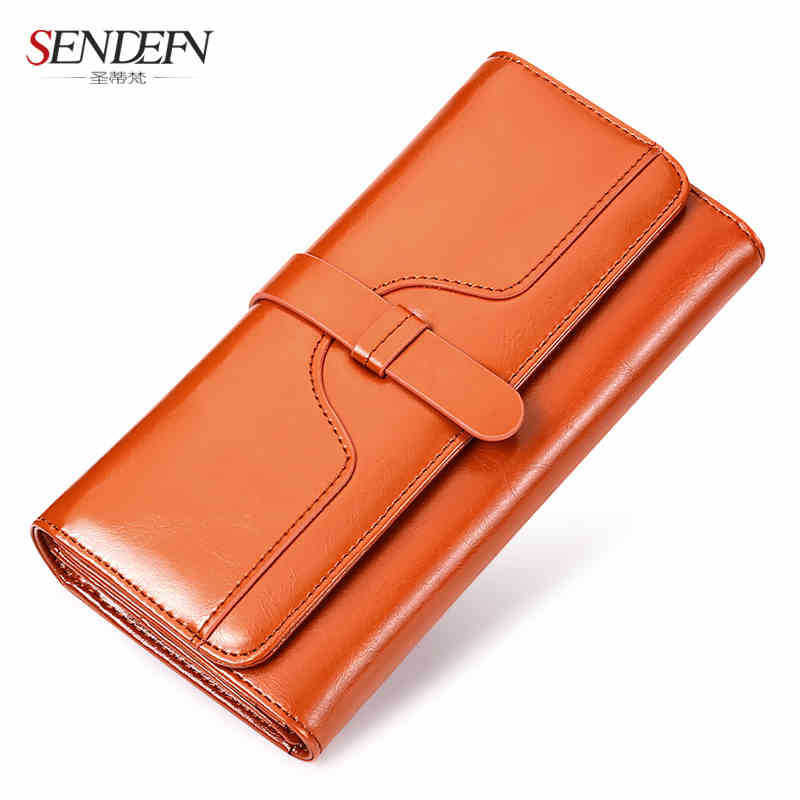 Oil wax cowhide new female font b wallet b font Korean version of the long section