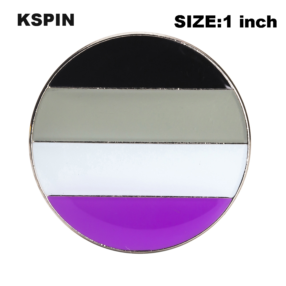 <font><b>Asexual</b></font> <font><b>Pride</b></font> Rainbow Flag Rozet Metal Chapas Metalicas Pins Icon Backpack Brooch for Gift XY0315 image