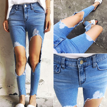 2016 синий тонкая талия стиль улица отверстие стрейч джинсы все-матч узкие брюки бесплатная почта девять очков брюки