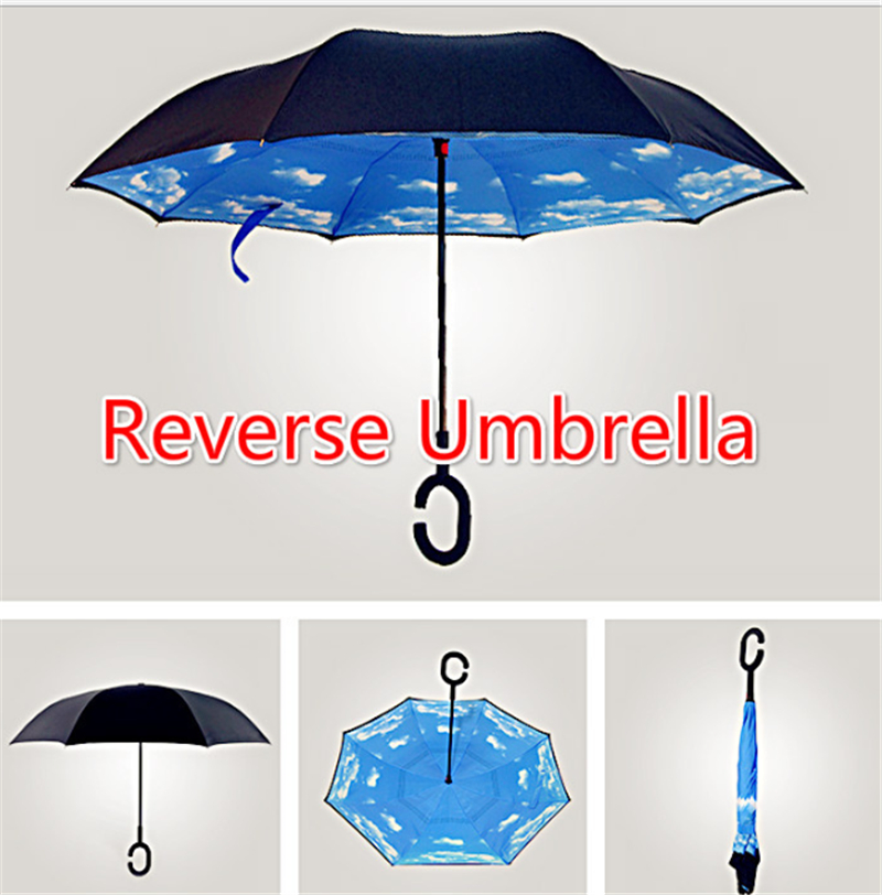 Wholesale Windproof Reverse Folding Double Layer Inverted Chuva Umbrella Self Stand Inside Out Rain Protection C Hands For Car