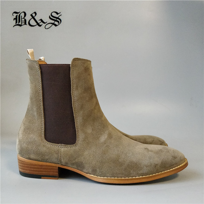 Black& Street new color classic suede leather designer men Boots dress wedding slip on Chelsea BootsBlack& Street new color classic suede leather designer men Boots dress wedding slip on Chelsea Boots