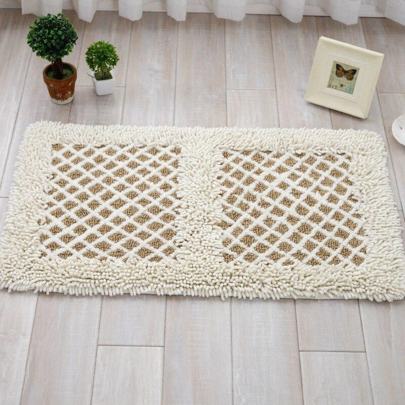 5080cm white rugs chenille shaggy rug handmade soft doormat home decorative kitchen bathroom mat - Shaggy Rug