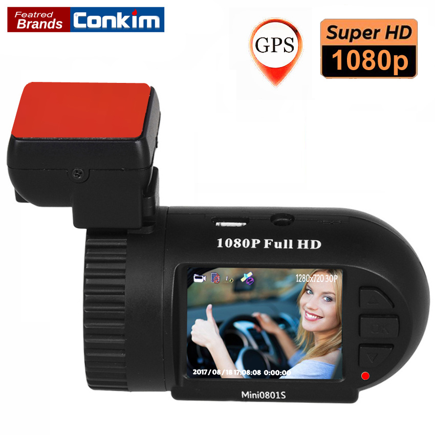 Conkim Car Camera Mini 0801S Upgrade 0801 1080P Full HD dashcam H.264 Dash Camera GPS Logger G sensor AIT8328P OV2710 Car DVRs