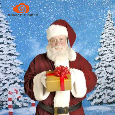 10X10ft Christmas Hand Painted Seamless Photo Backdrop Backgounds,nature scenic snow tree backdrop for children and families