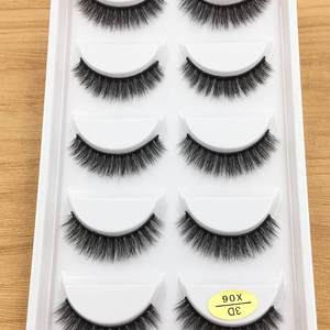 5 pairs Short Natural Mink False Eyelashes Cross Dense Handmade Cotton Stalk Eye Lashes Date Make-up Mink Fake Eyelashes(China)