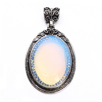 Tibetan Antique Silver Metal Pendants Cabochon Diy With Natural Stone Opal Cabochon Setting Base Bezel Cameo