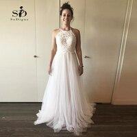 Backless Informal Wedding Dress With Delicate Appliques Halter Sexy Bride Dress Florr length Custom Made