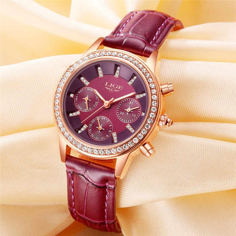 נשים יוקרה מותג העליונים ליגע שעונים קוורץ עור אופנה פנאי נשי שמלת יהלומי גבירות מתנות Relogio Feminino + תיבה