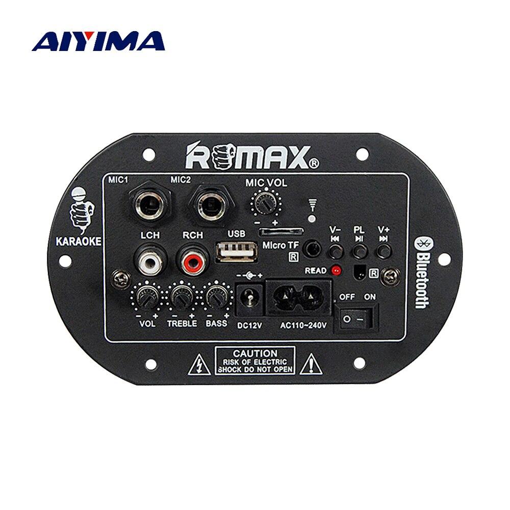 Aiyima 12v Ac220v Bluetooth Subwoofer Power Amplifier Board Karaoke Sub 150w 8ohm Circuit 35 150hz 2sa1943 Dual Microphone Audio 220v Car Home Theater Sound