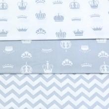 100% cotton CARTOON white GRAY crown chevron twill cloth DIY for kids crib bedding cushions handwork home decor tissue