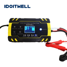 цена на 12v 24v Automatic Car Battery Charger AGM GEL WET fast charger 12V 8A 24V 4A Intelligent Pulse Repair lead acid battery charger