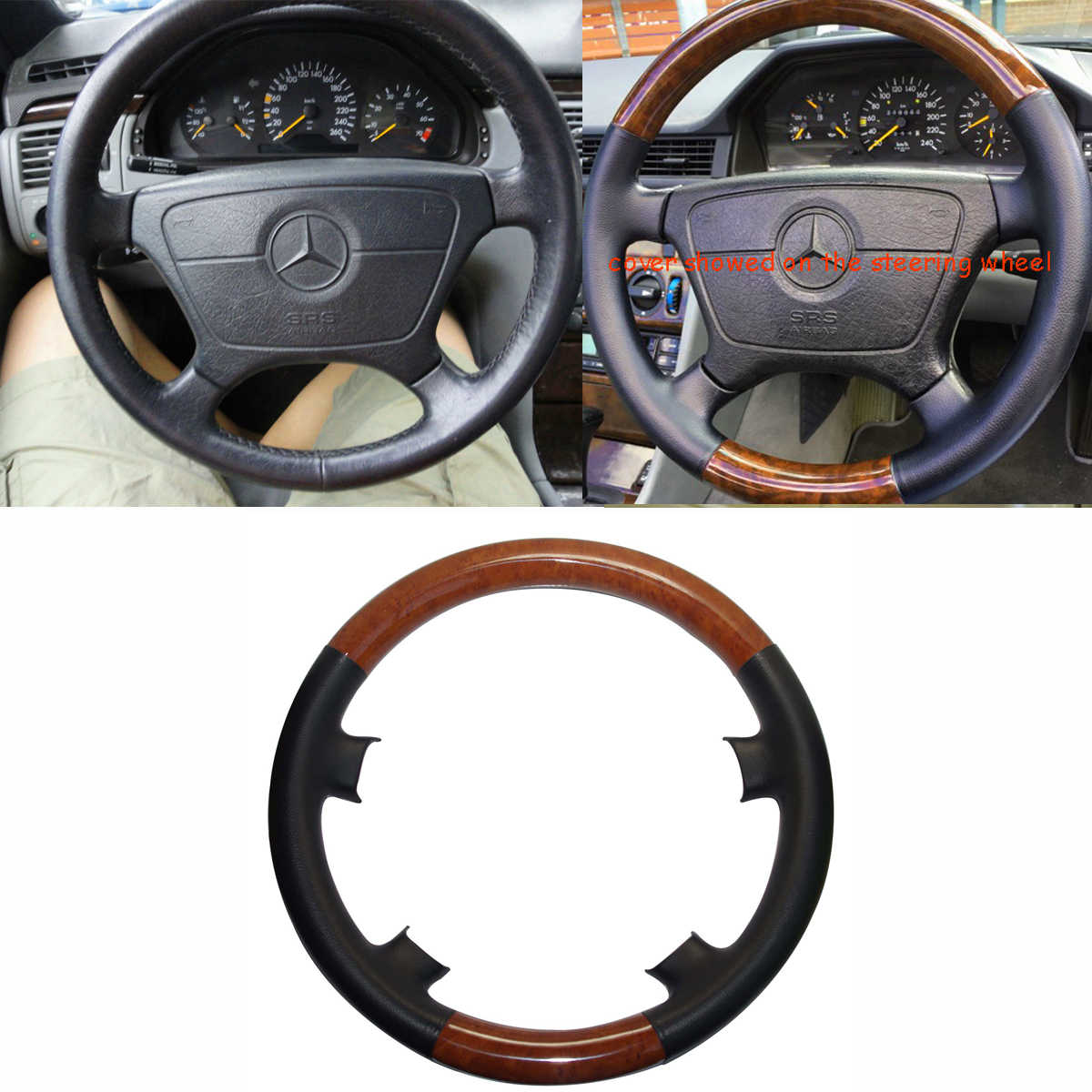black leather light wood steering wheel cover for mercedes 91 98 w140 s s300 s320  [ 1200 x 1200 Pixel ]