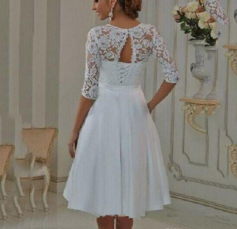 Vestido de Noiva 2019 Elegant a line short Wedding Dresses half Sleeves lace Princess Bridal Gowns wedding gown-in Wedding Dresses from Weddings & Events    2