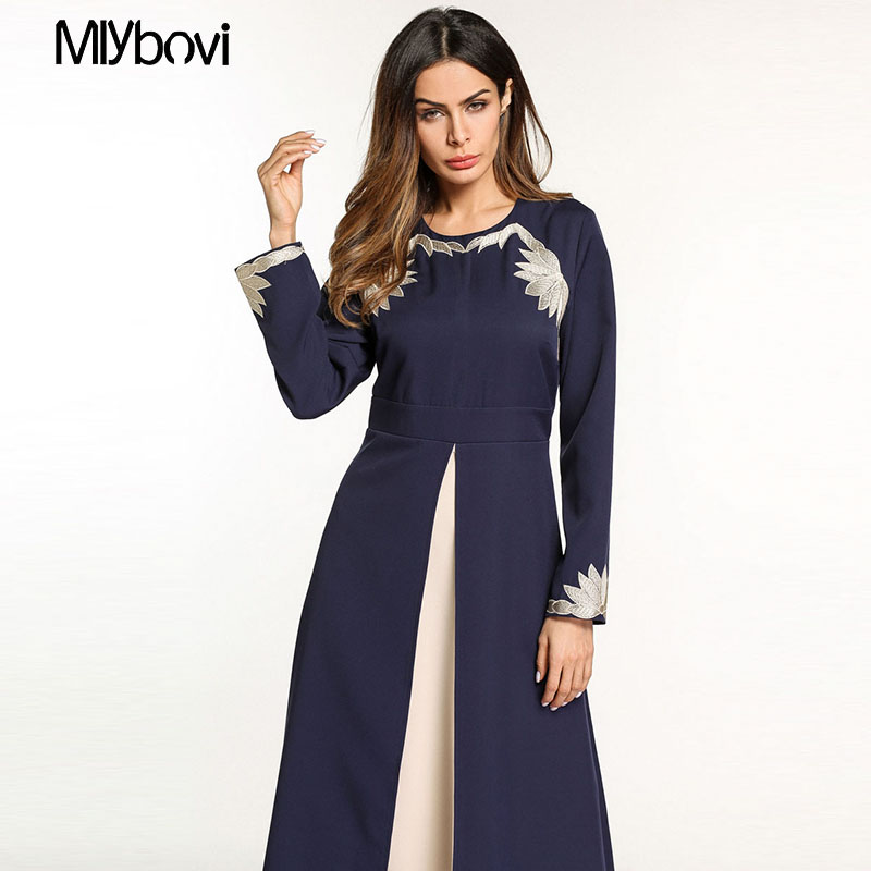 e1d4d8014161 Dubai Abaya Muslim Dress Two-piece Swing Dress with Embroidered Ar...
