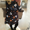Satis Ange Autumn Winter Halloween Women Long Sleeve Dress Pumpkin Cat Printing Loose Casual Party Evening