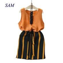 hot deal buy 2018 summer girls clothing sets fashion children's sleeveless vest+ striped skirt 2pcs suit kids clothes set