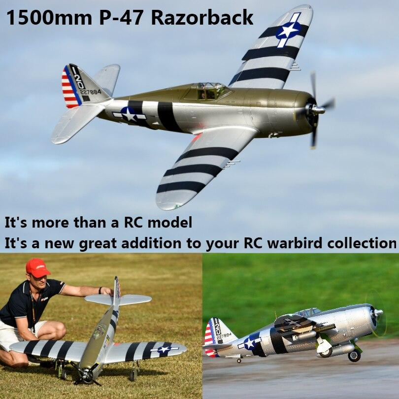 Радиоуправляемый самолет FMS 1500 мм 1,5 м P47 P 47 Рейзорбэк 6CH с втягивается светодиодный 6 S EPO PNP масштаба и ни в коем случае большой Warbird модели сам